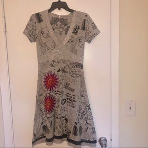 🌟Desigual Gray Embroidered Dress🌟